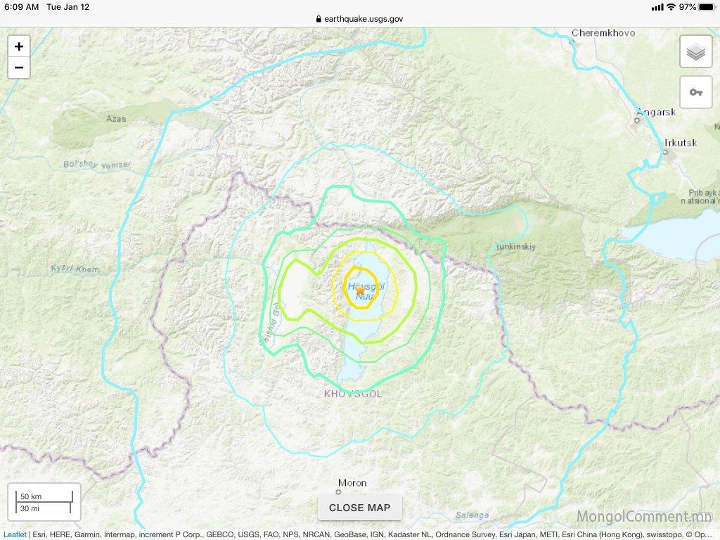 Хөвсгөл аймагт болсон газар хөдлөлт Улаанбаатар хот, Булган, Орхон, Сэлэнгэ аймагт мэдрэгджээ